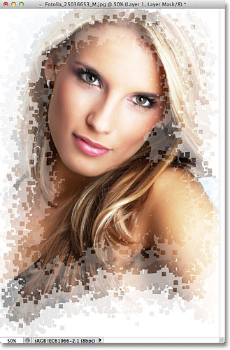 Pixel efek foto Photoshop. Gambar © 2011 Photoshop Essentials.