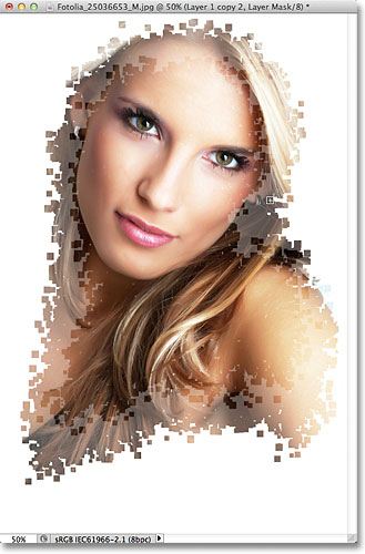The second stage of the pixel effect. Image © 2011 Photoshop Essentials.