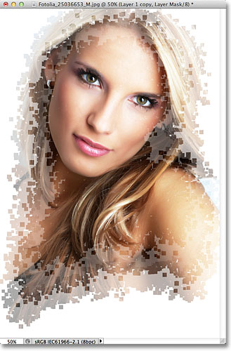 The third stage of the pixel effect. Image © 2011 Photoshop Essentials.