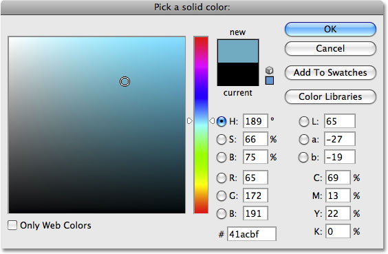 The Color Picker in Photoshop. Image © 2008 Photoshop Essentials.com