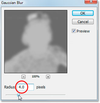 Photoshop's Gaussian Blur filter dialog box.