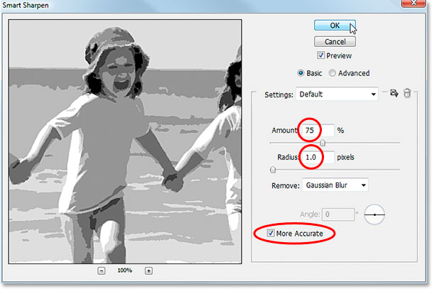 Photoshop's Smart Sharpen filter dialog box.
