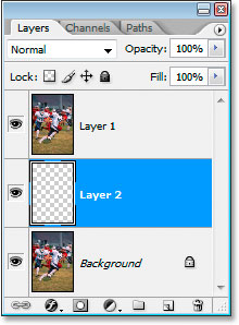 Photoshop's Layers palette showing the new blank layer between the two initial layers.