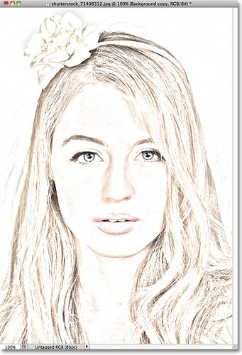 Photoshop Photo Line Art Effect : Portrait photo to color sketch photoshop tutorial