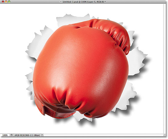 The object has been pasted into the document. Image © 2011 Photoshop Essentials.com.