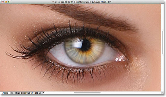 The image after increasing the color saturation in the iris. Image © 2011 Photoshop Essentials.com.