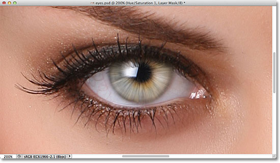 The iris of the eye is now brighter thanks to the Screen blend mode. Image © 2011 Photoshop Essentials.com.