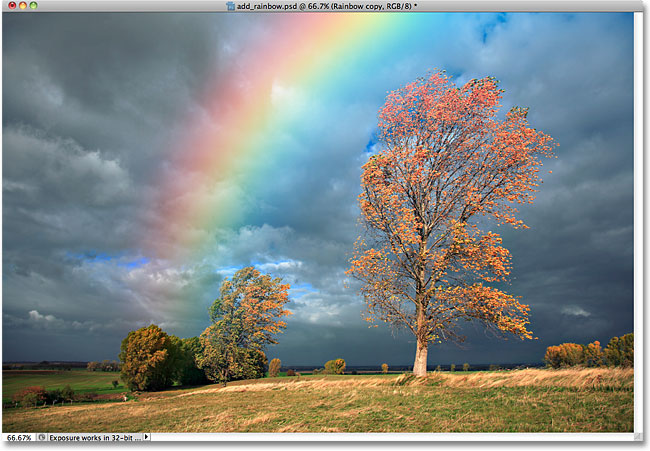 The rainbow in the photo now looks brighter. Image © 2010 Photoshop Essentials.com