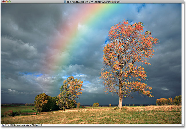 The rainbow after dragging a black-to-white vertical gradient on the layer mask.