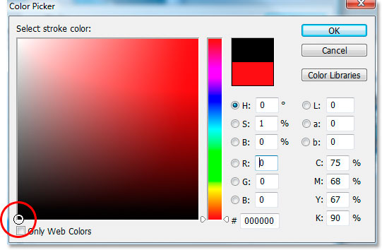 Choosing black in the Color Picker.