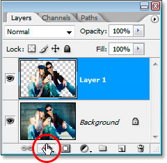 Clicking the 'Layer Styles' icon at the bottom of the Layers palette.