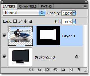 Foto muncul pada layer baru di panel Layers. Image © 2010 Photoshop Essentials.com