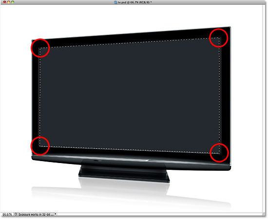 A selection outline appears around the tv screen. Image © 2010 Photoshop Essentials.com.