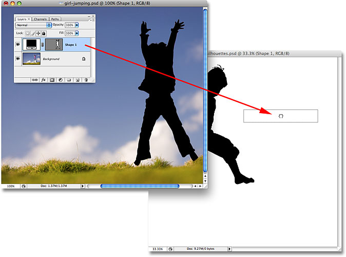 Dragging the second shape layer into the main Silhouettes document. Image licensed from iStockphoto.com by Photoshop Essentials.com.