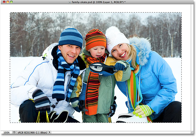 The area inside the selection outline has been deleted. Image © 2010 Photoshop Essentials.com.