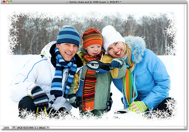 A snowflakes photo border created in Photoshop. Image © 2010 Photoshop Essentials.com.