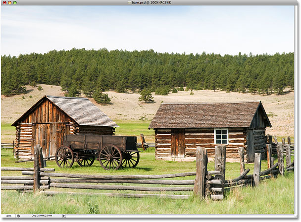 A photo of an old barn in the country. Image licensed from iStockphoto by Photoshop Essentials.com.