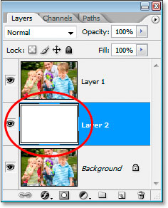The thumbnail preview for Layer 2 is now filled with white in the Layers palette.