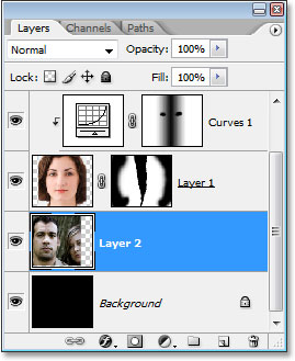 The Layers palette showing the second image on its own layer between the Background layer and 'Layer 1'.