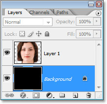 The Layers palette in Photoshop now showing the Background layer filled entirely with black.