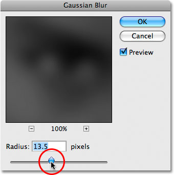 The Gaussian Blur filter in Photoshop. Image &copy; 2009 Photoshop Essentials.com.