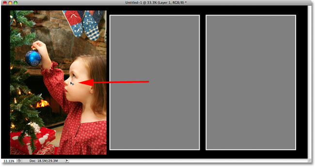 Dragging the first photo over the placeholder shape. Image © 2009 Photoshop Essentials.com.