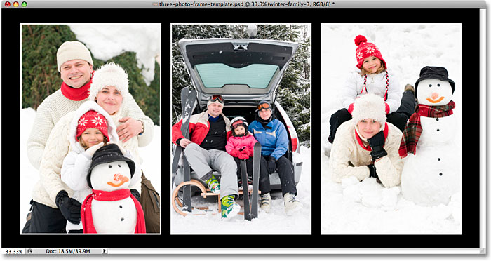 A second three-image photo frame template created in Photoshop. Image © 2009 Photoshop Essentials.com.