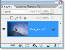 Photoshop's Layers palette showing the original image on the Background layer.