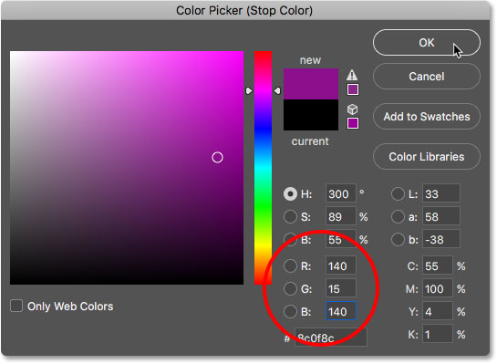 Choosing a dark pink in the Color Picker.