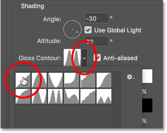 Changing Gloss Contour to Linear.