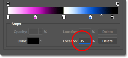 Changing the location of the final color stop to 95 percent.