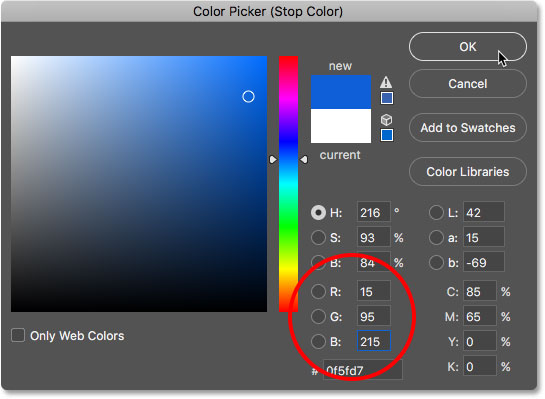 Choosing white from the Color Picker.