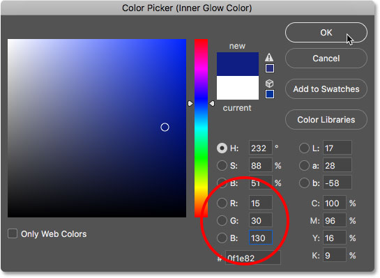 Choosing a darker blue from the Color Picker.