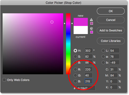 Choosing pink from the Color Picker.