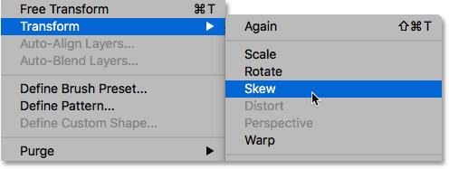 Choosing Skew from the Edit menu.