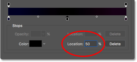 Setting the Location of the new color stop to 50 percent.