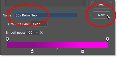 Naming and saving the new gradient preset.