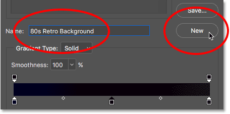 Entering a name for the new gradient preset, then clicking the New button.