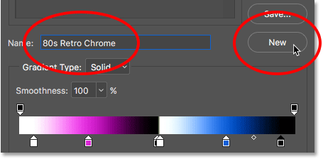 Naming and saving the custom gradient as a preset.