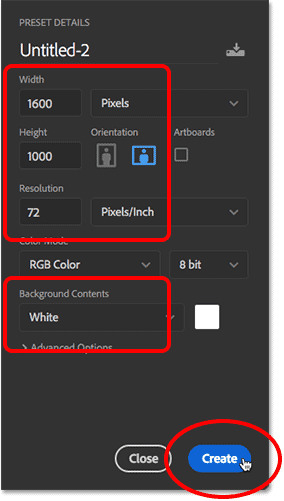 Setting the Width, Height, Resolution and Background Contents options in Photoshop CC.