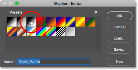 Selecting the Black, White gradient in the Gradient Editor.