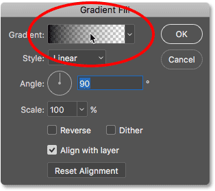 Clicking the color swatch in the Gradient Fill dialog box.