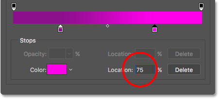 Changing the Location of the color stop to 75 percent.