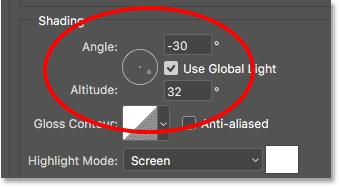 The Angle and Altitude options.