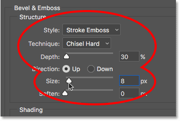 The Structure options for Bevel and Emboss.