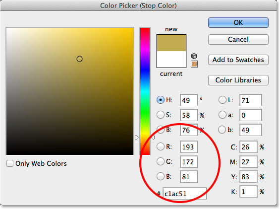 Replacing the white in the gradient with a different color. Image © 2014 Photoshop Essentials.com