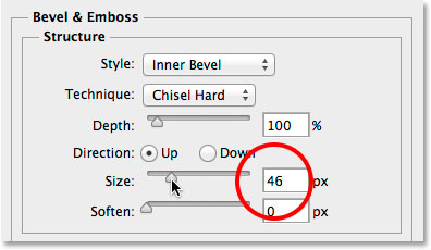 Increasing the Size value for the Bevel and Emboss layer style. Image © 2014 Photoshop Essentials.com