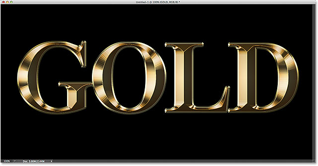 The gold text effect so far. Image © 2014 Photoshop Essentials.com