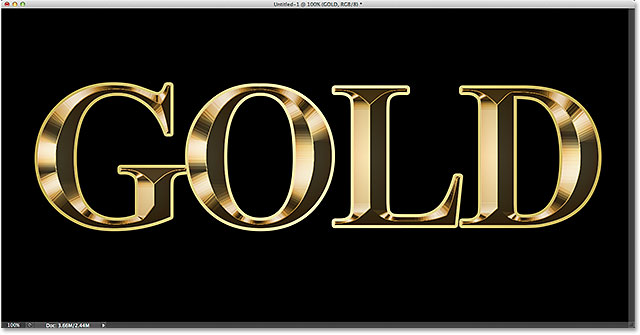 The effect after applying the gold gradient to the stroke. Image © 2014 Photoshop Essentials.com