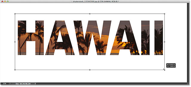 Moving and resizing the text with Free Transform.